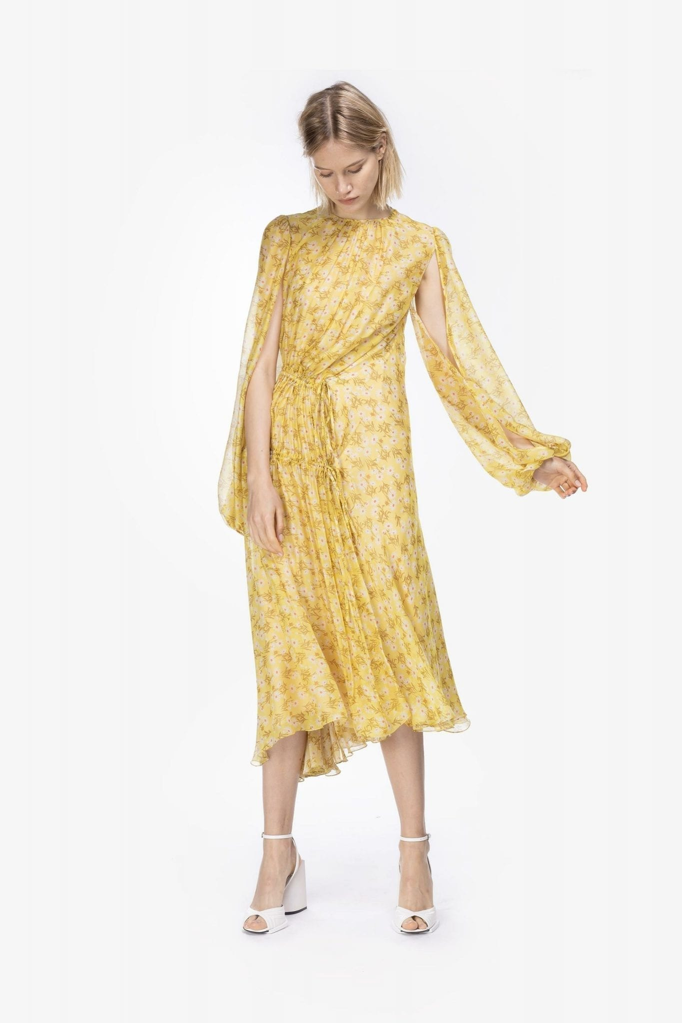 NO21 Ruched Pâquerettes Print Dress