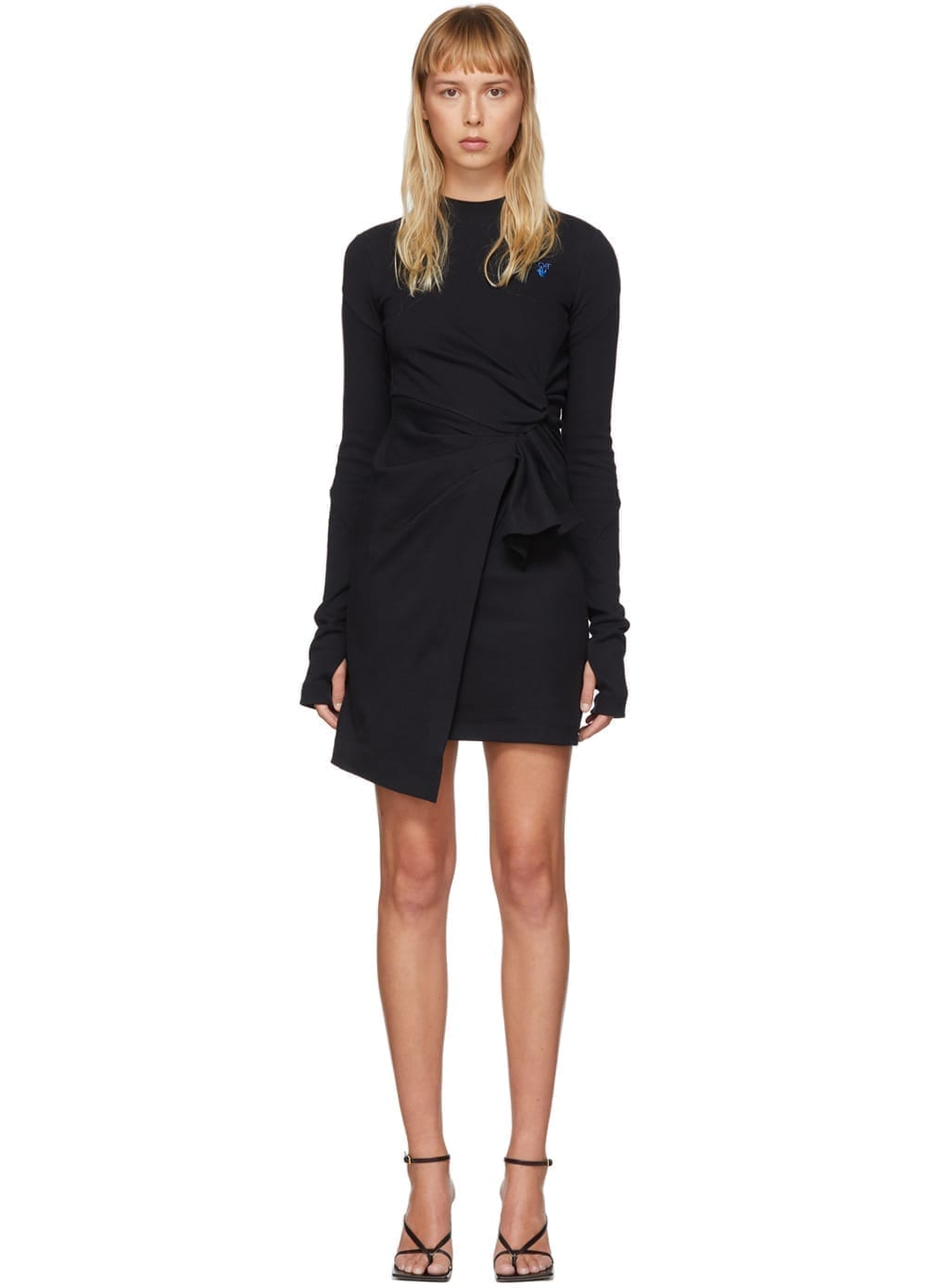 OFF-WHITE Black Mariacarla Wrap Dress