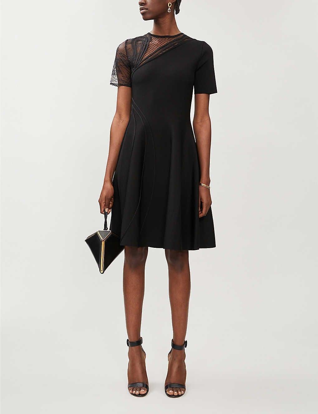 OSCAR DE LA RENTA Asymmetric Mesh-detail Stretch-woven Mini Dress