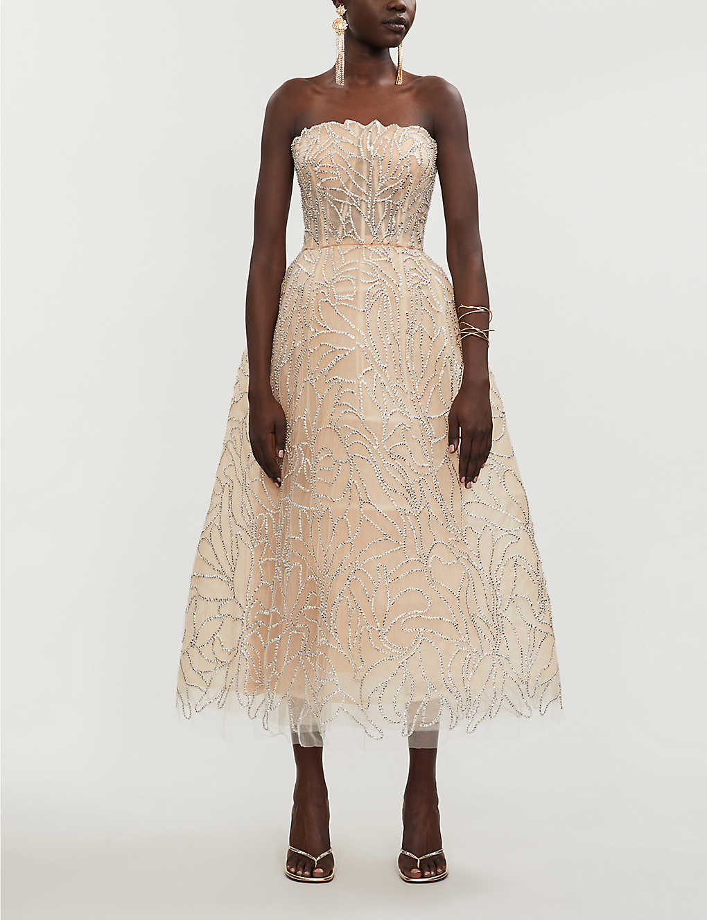 OSCAR DE LA RENTA Embellished Tulle Midi Dress