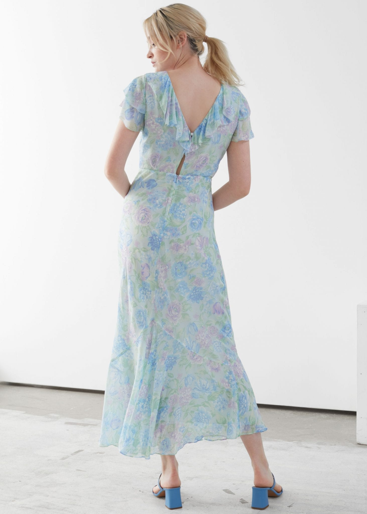 OTHER STORIES Bias Cut Ruffled Maxi Dress