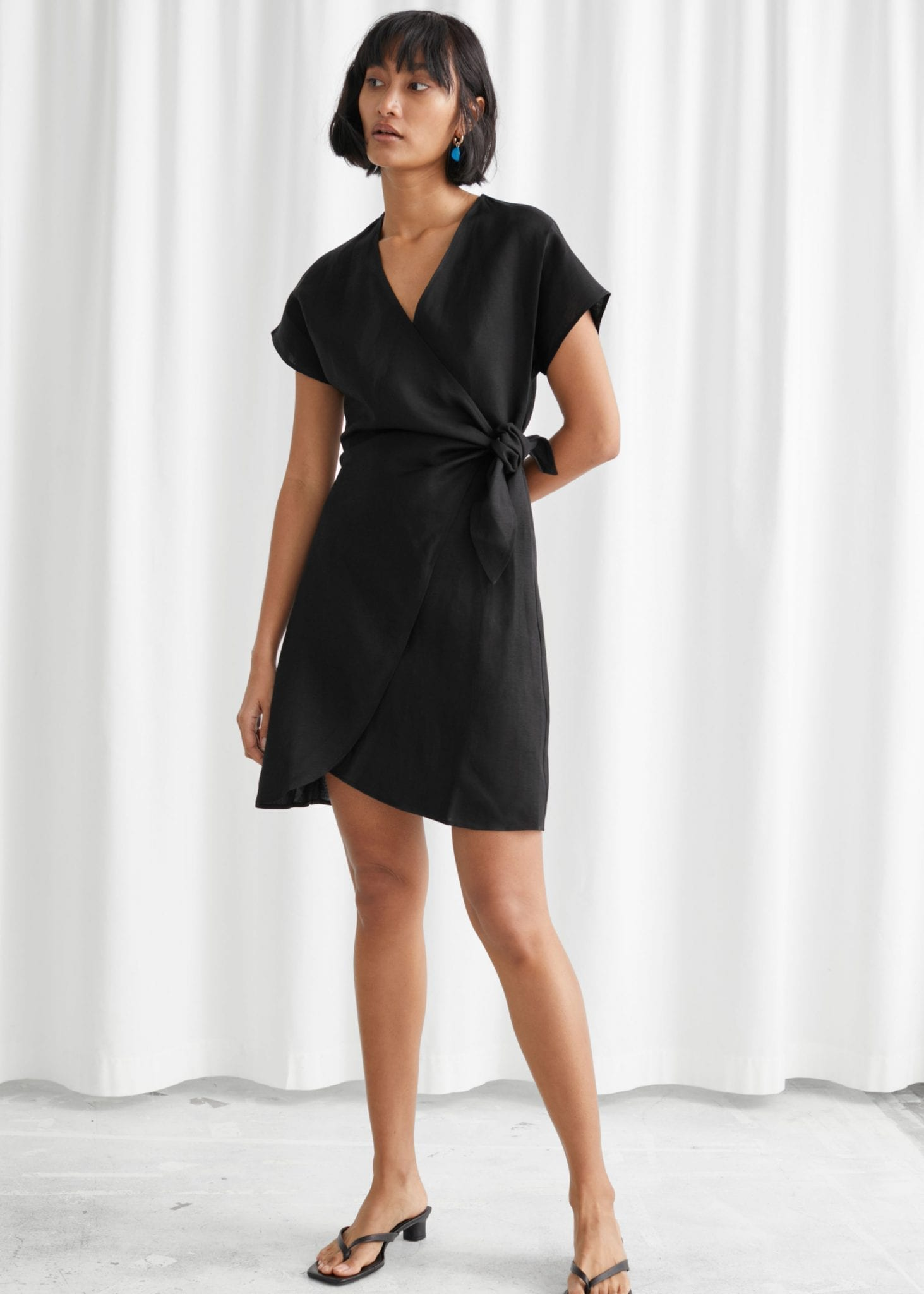 OTHER STORIES Linen Blend Wrap Mini Dress