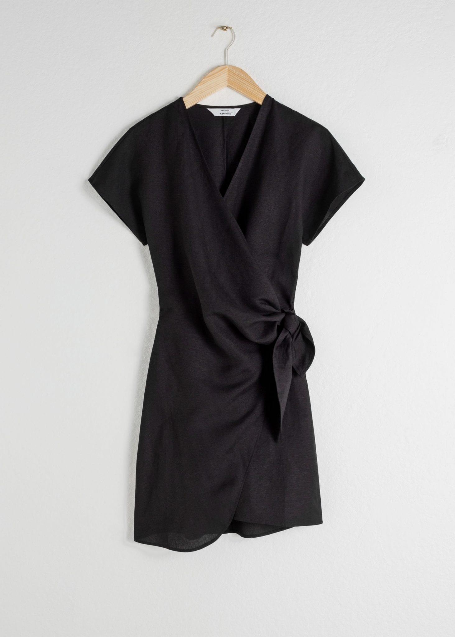 OTHER STORIES Linen Blend Wrap Mini Dress