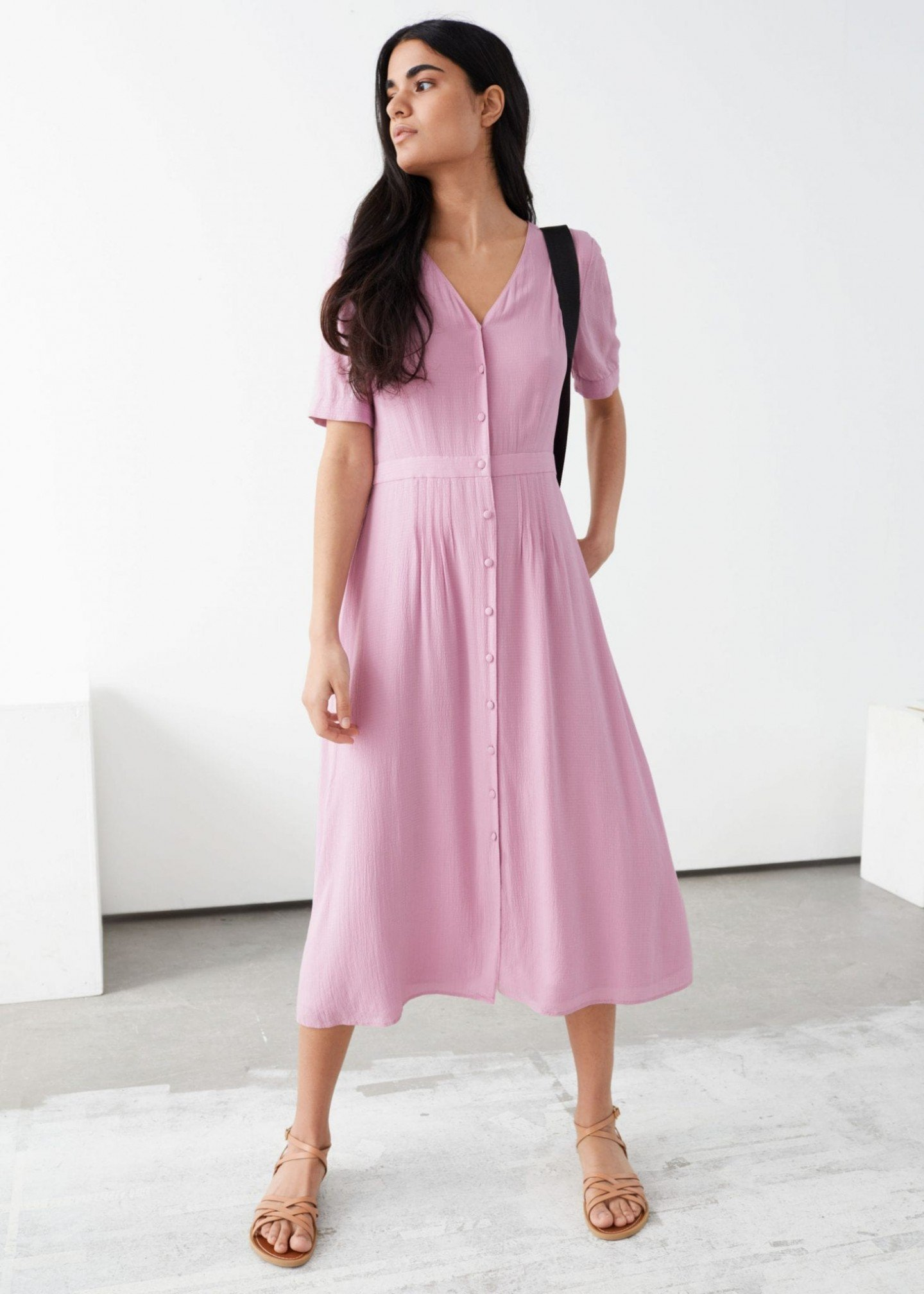 OTHER STORIES Pleated V-Neck Midi Dress