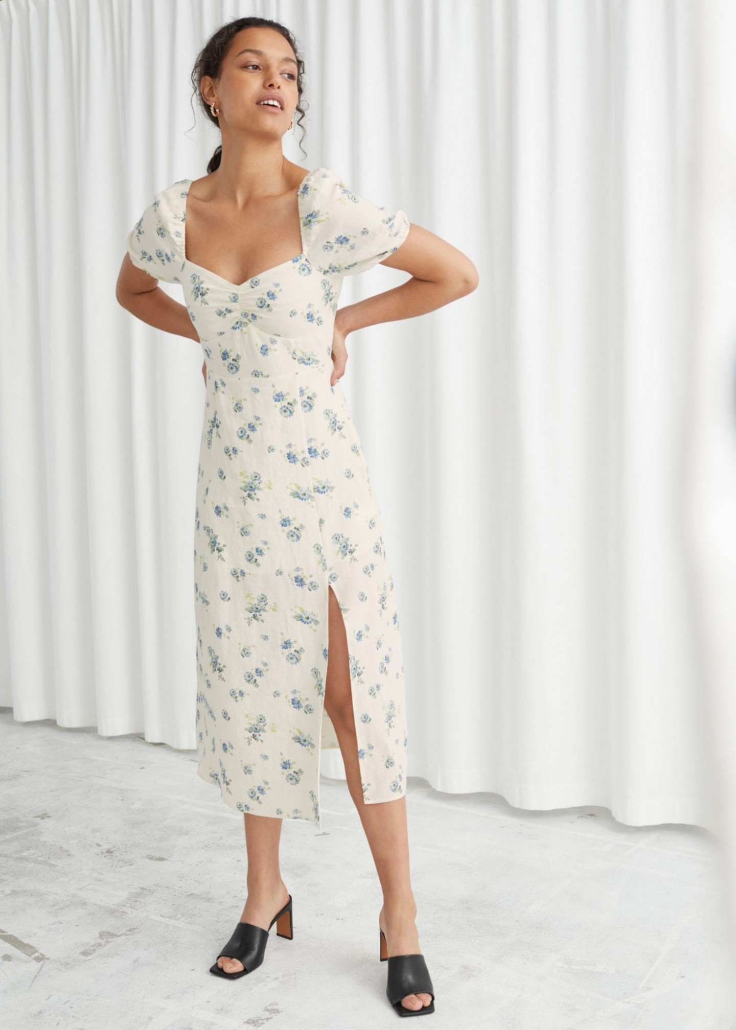 OTHER STORIES Puff Sleeve Linen Midi Dress