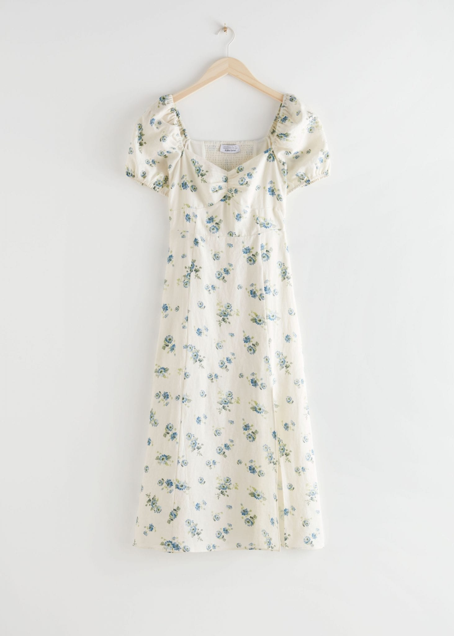 OTHER STORIES Puff Sleeve Linen Midi Dress