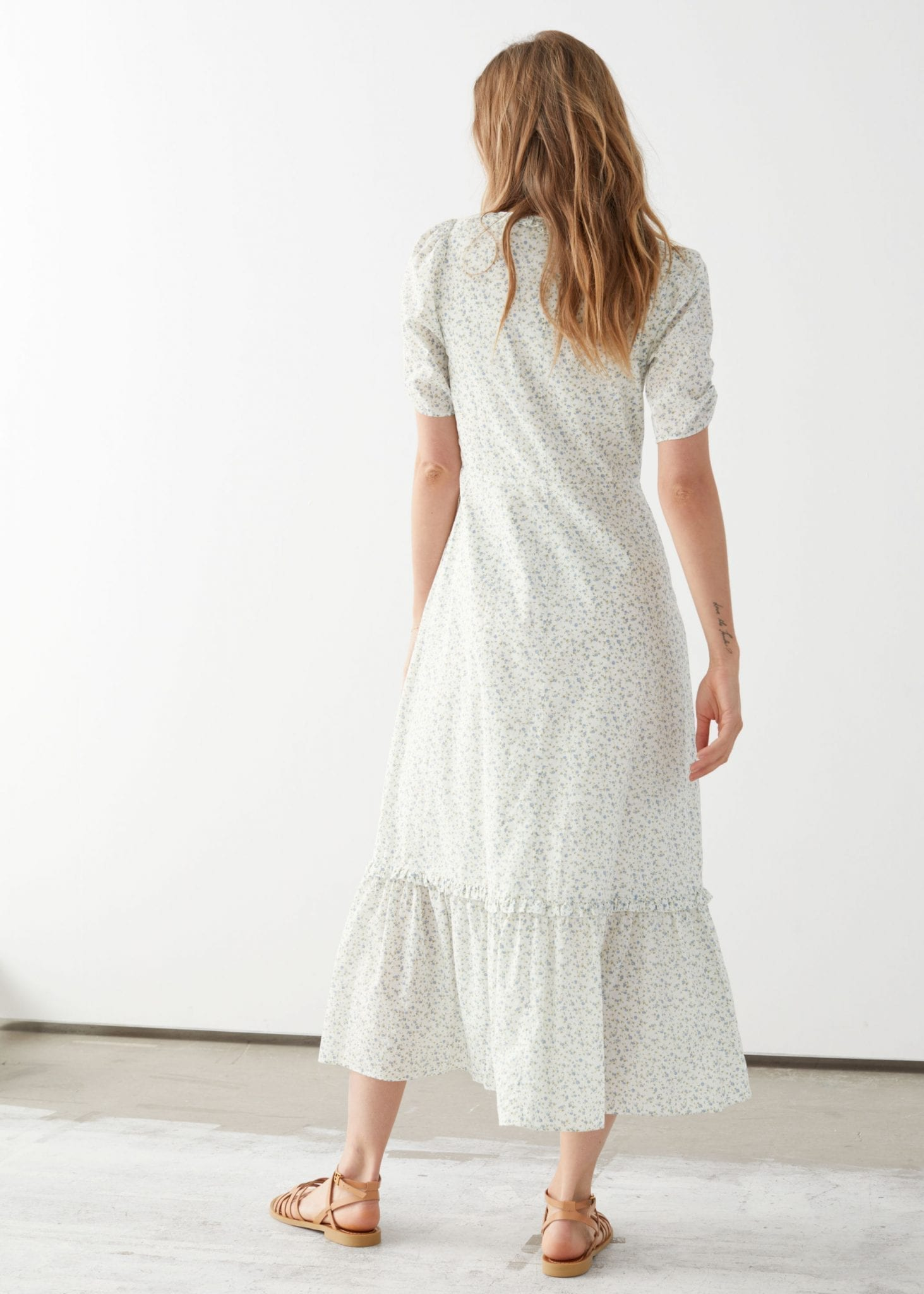 OTHER STORIES Puff Sleeve Scoop Neck Midi Dress
