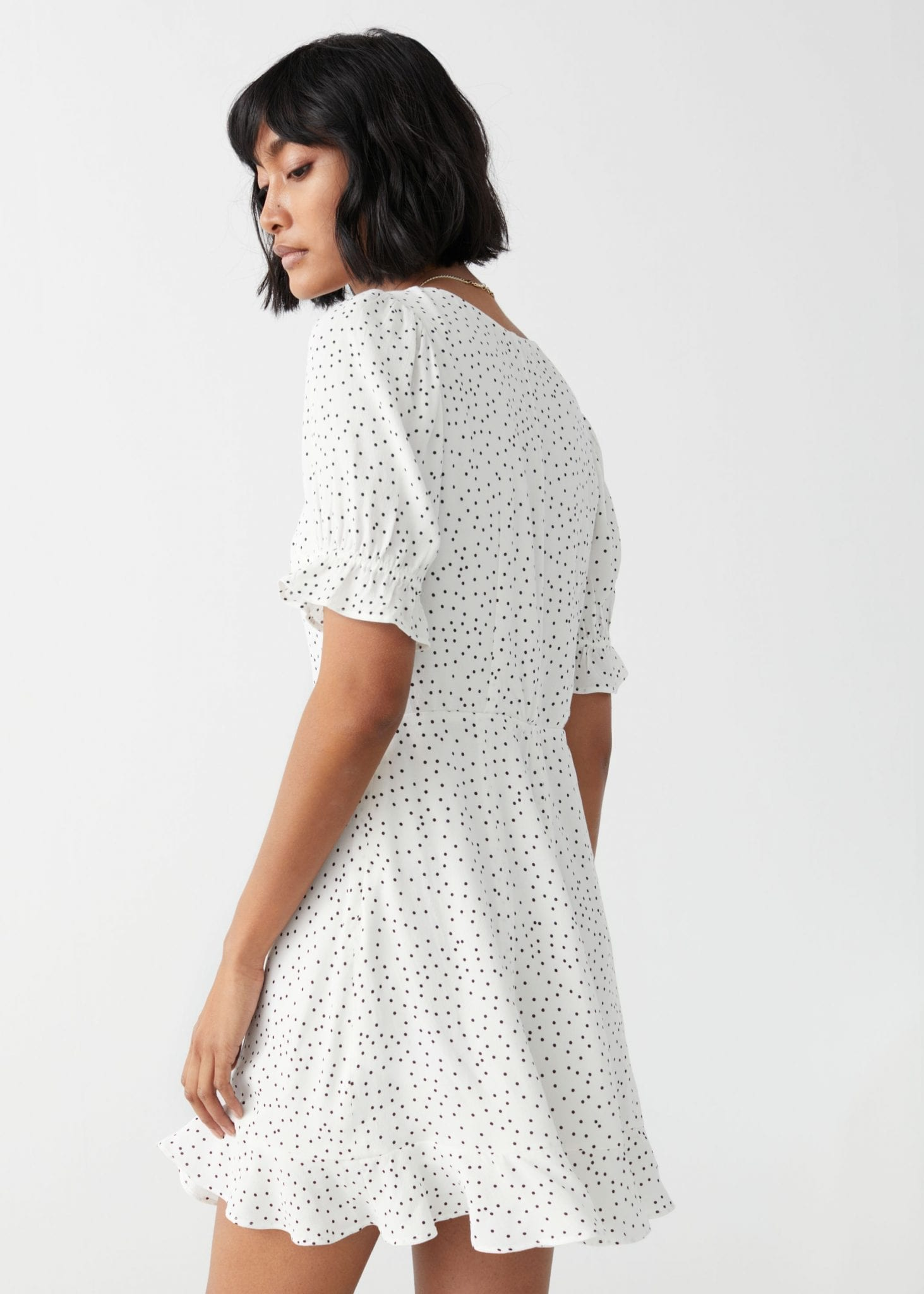 OTHER STORIES V-Neck Puff Sleeve Mini Dress