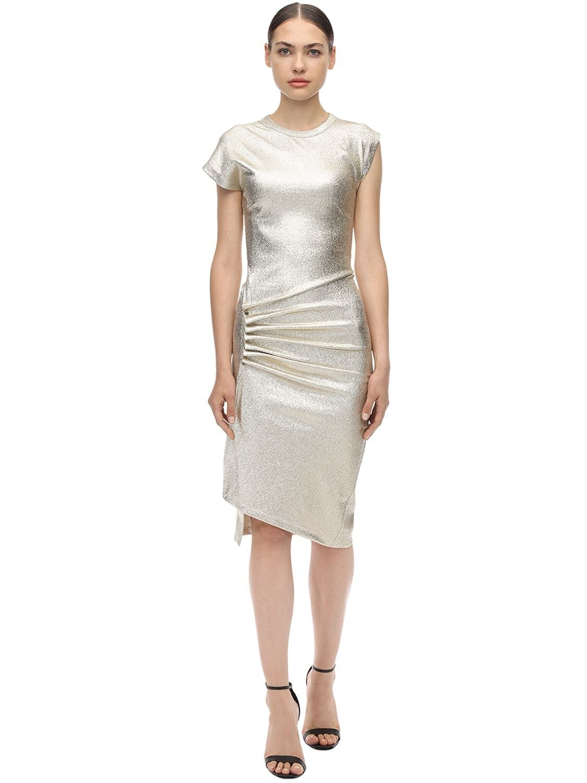PACO RABANNE Asymmetric Stretch Lurex Jersey Dress