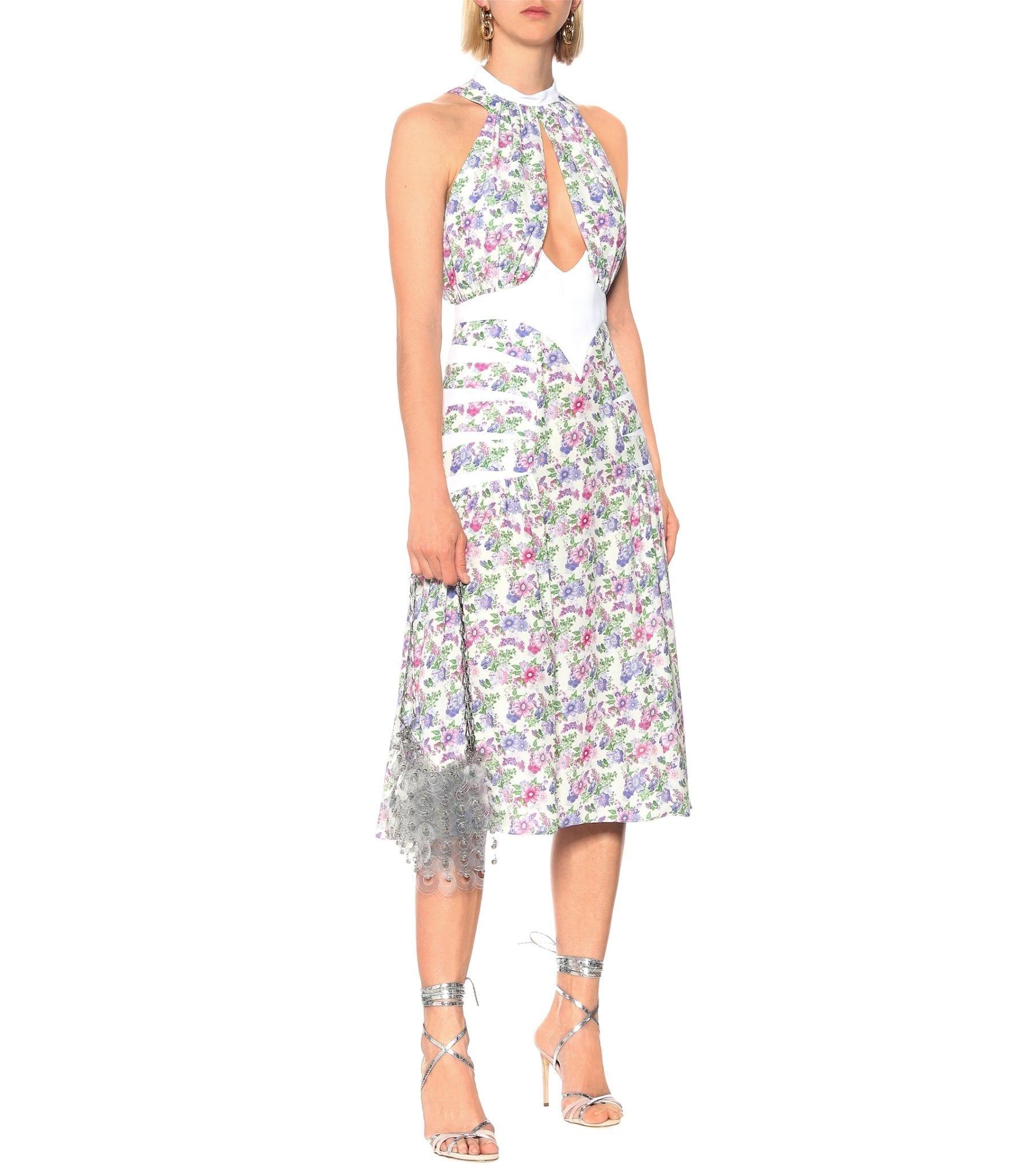 PACO RABANNE Floral Halterneck Midi Dress