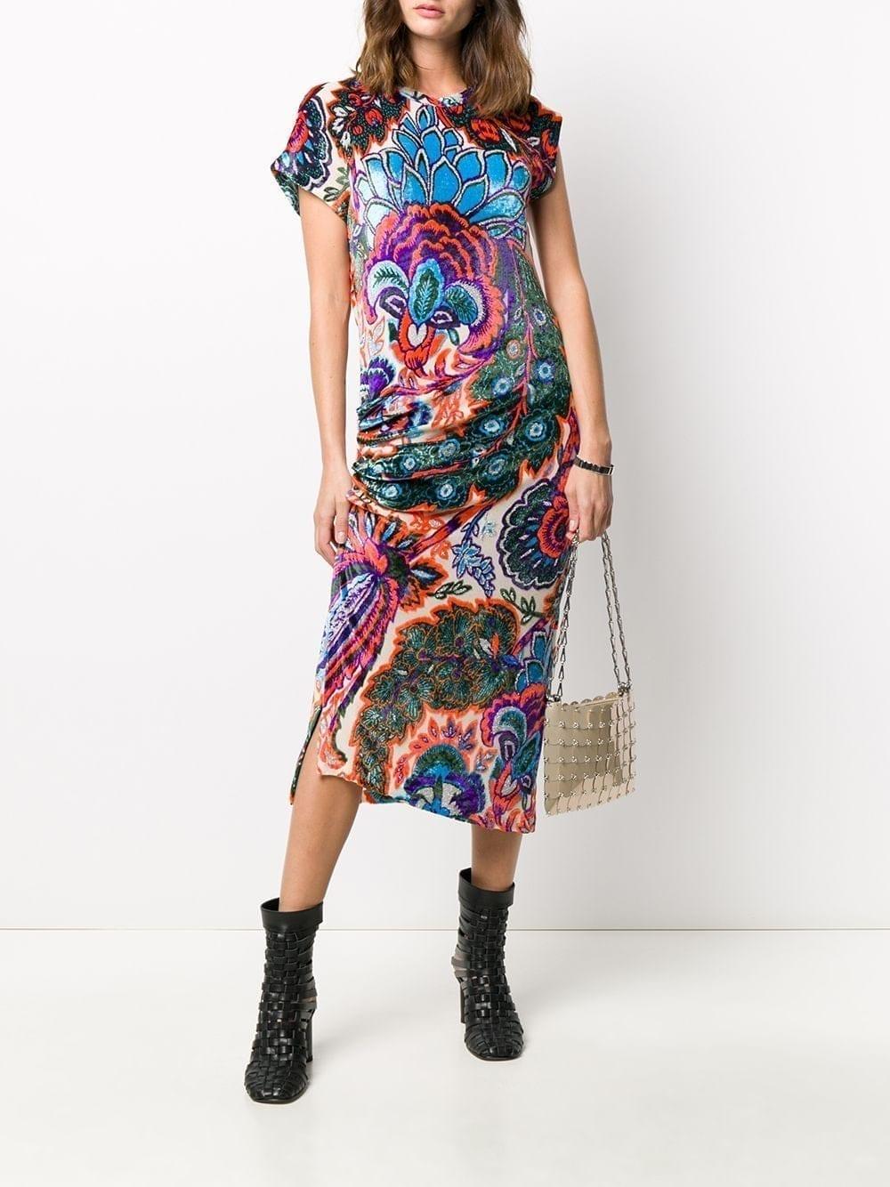 PACO RABANNE Floral Print Draped Dress