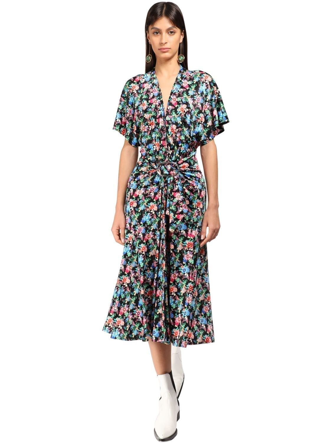 PACO RABANNE Flower Print Viscose Jersey Midi Dress