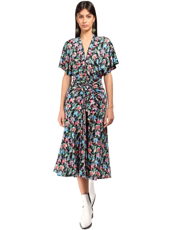 PACO RABANNE Flower Print Viscose Jersey Midi Dress