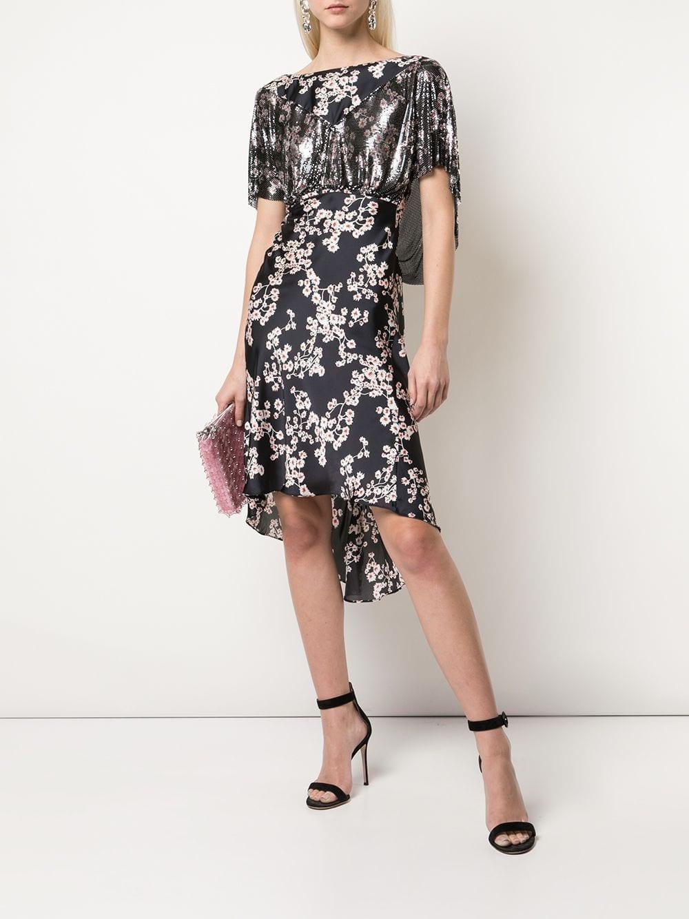 PACO RABANNE Mesh Floral Drape Midi Dress