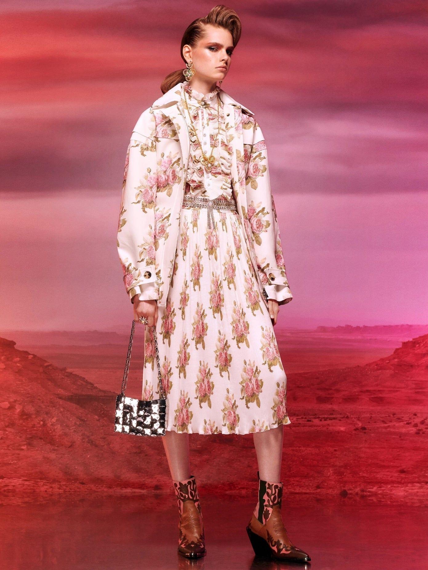 PACO RABANNE Ruffled Floral-print Plissé Midi Dress