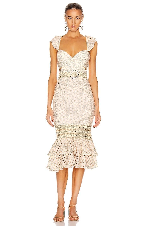 PATBO Eyelet Belted Midi Dress