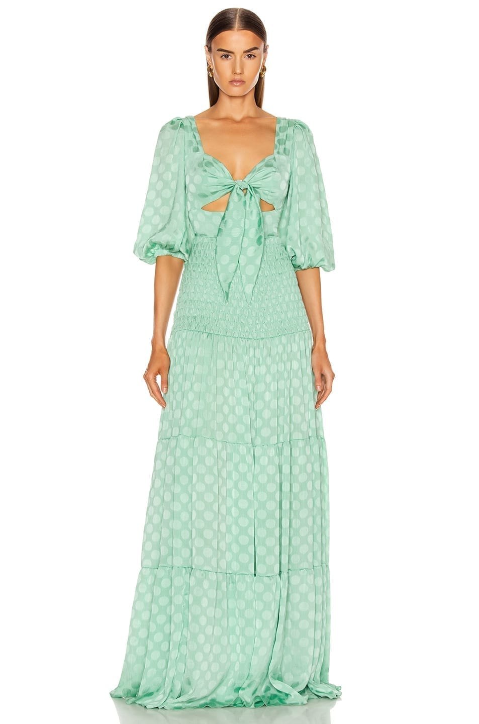 PATBO Satin Dot Ruched Maxi Dress