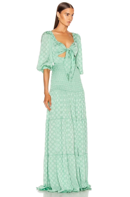 PATBO Satin Dot Ruched Maxi Dress