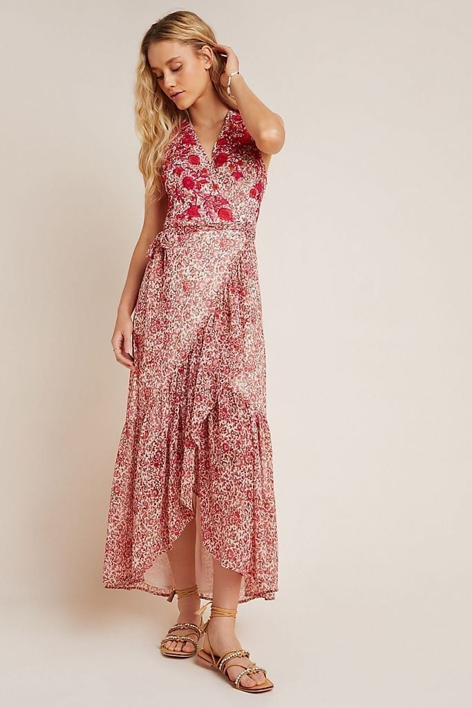 RANNA GILL Alexandra Embroidered Wrap Maxi Dress