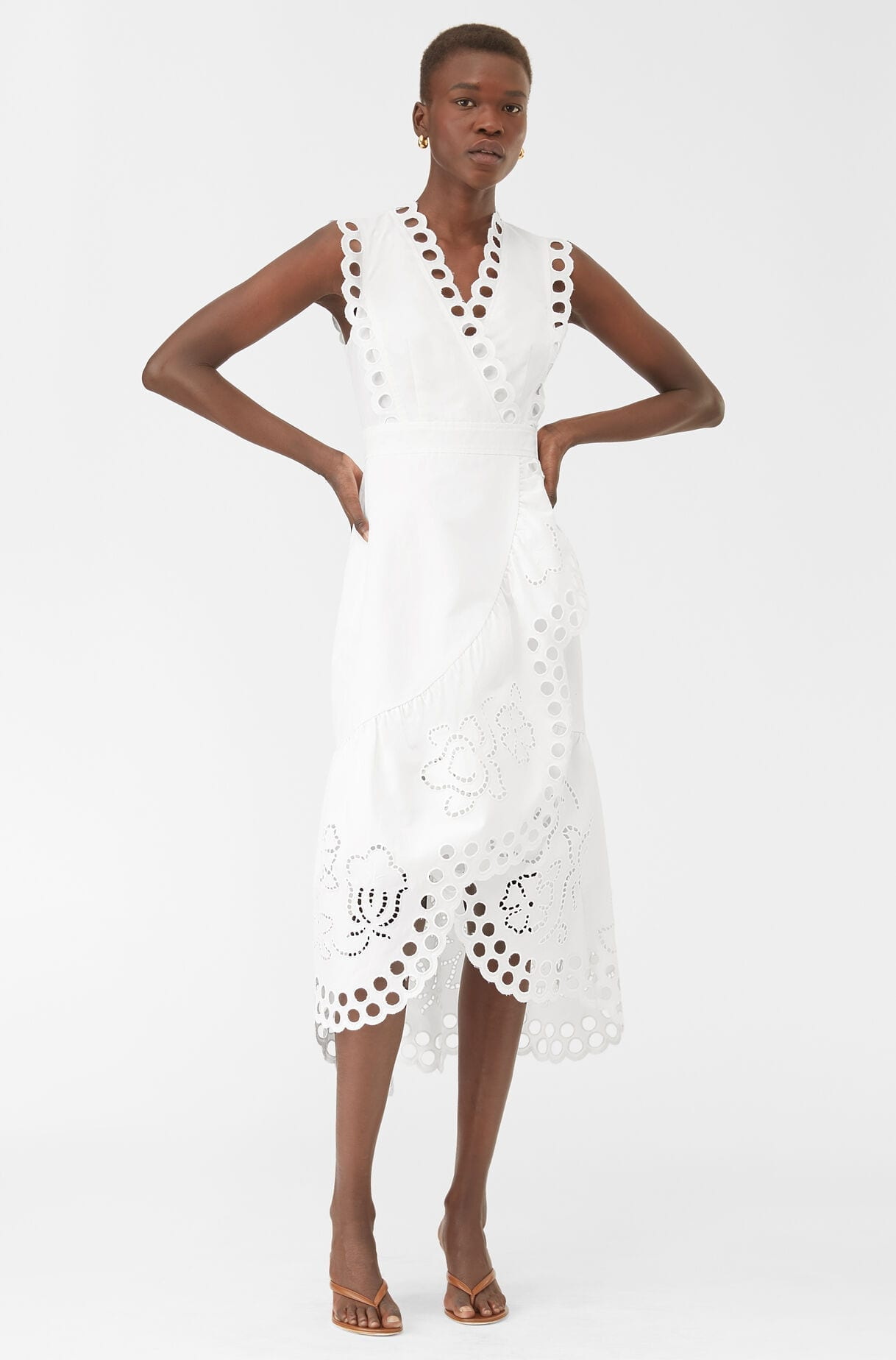 REBECCA TAYLOR Ariana Eyelet Embroidered Wrap Dress