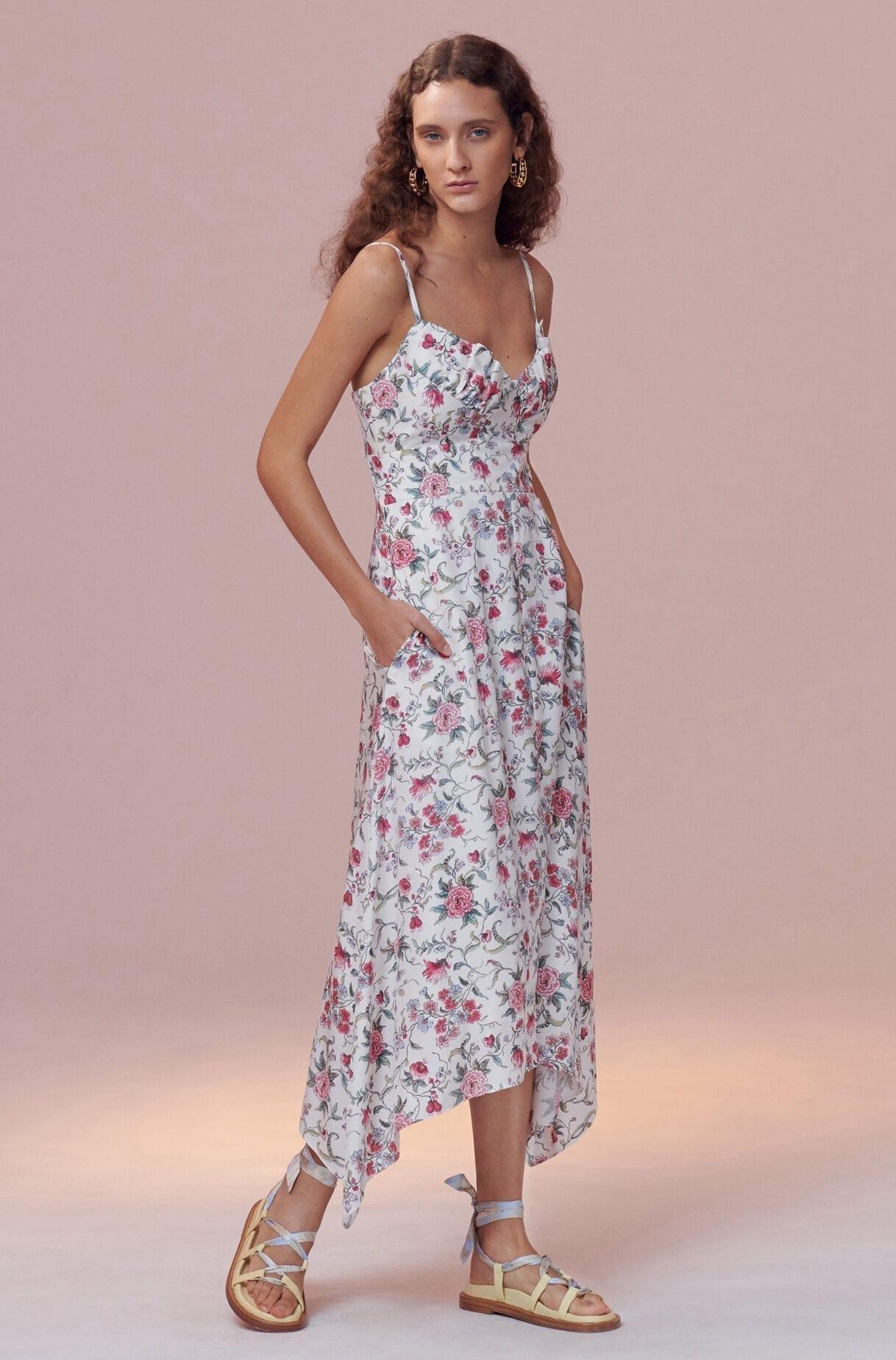 Rebecca Taylor Mixed-print Silk Dress in Blue | Lyst