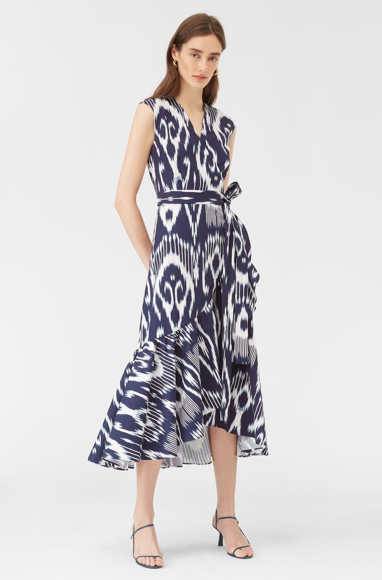 REBECCA TAYLOR Indigo Ikat Wrap Dress