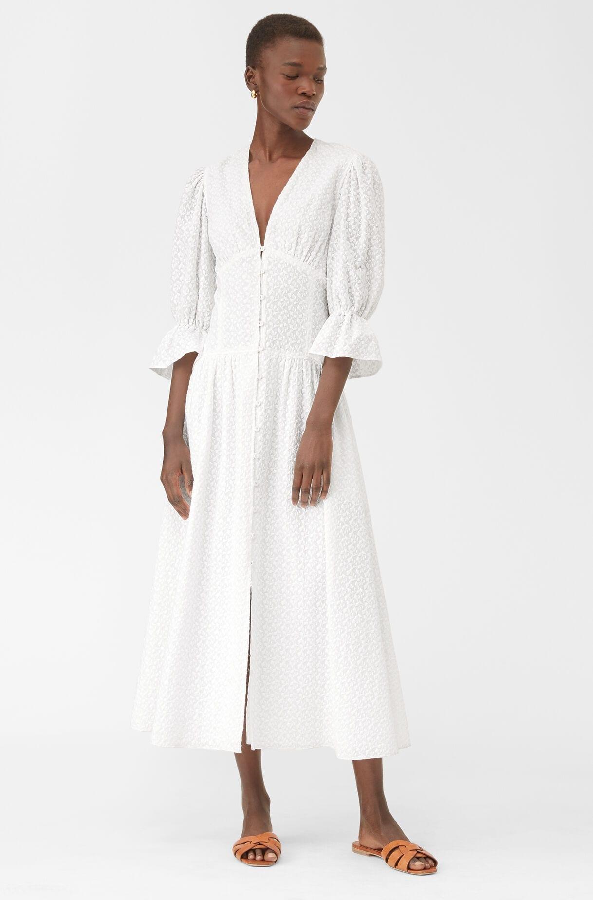 REBECCA TAYLOR La Vie Leaf Embroidered Cotton Dress