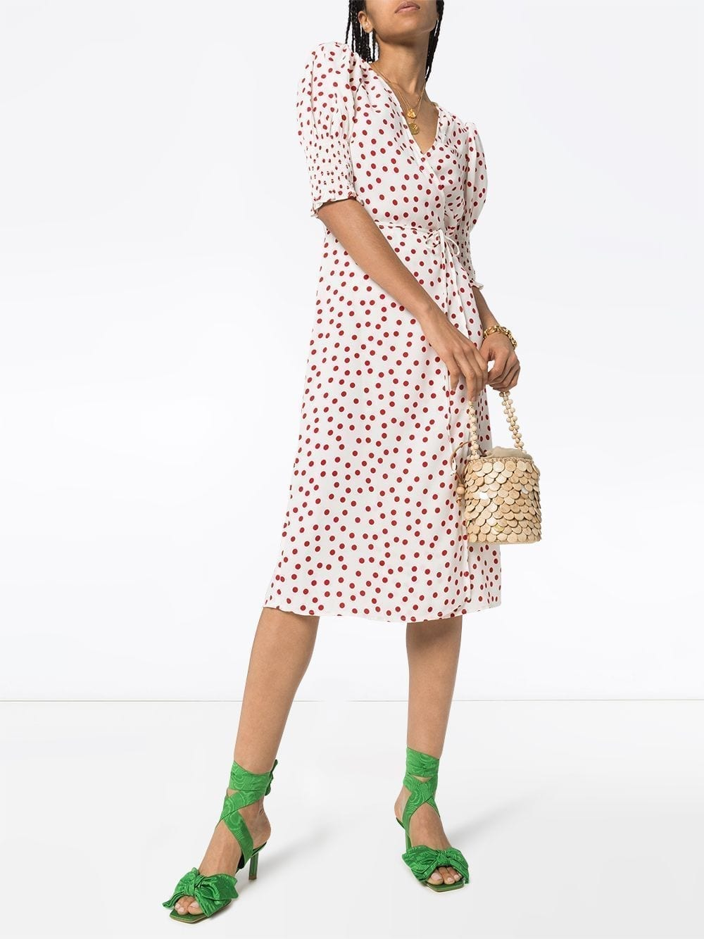REFORMATION Esmerelda Polka Dot Wrap Dress