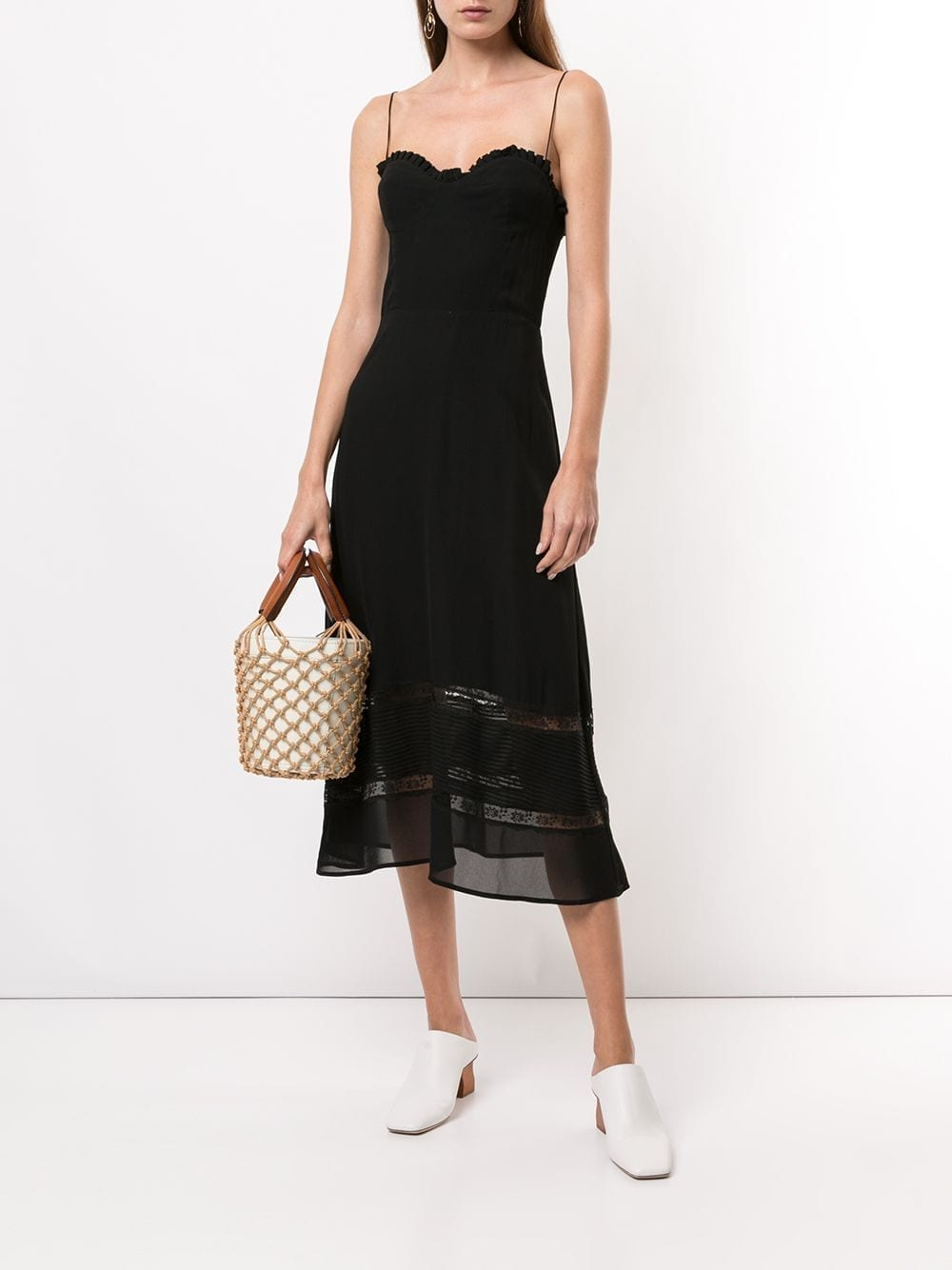 REFORMATION Ronan Lace-Trim Midi-Dress