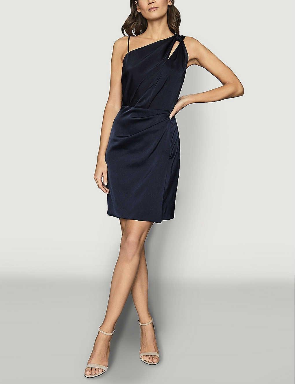 REISS Adara One Shoulder Satin Midi Dress