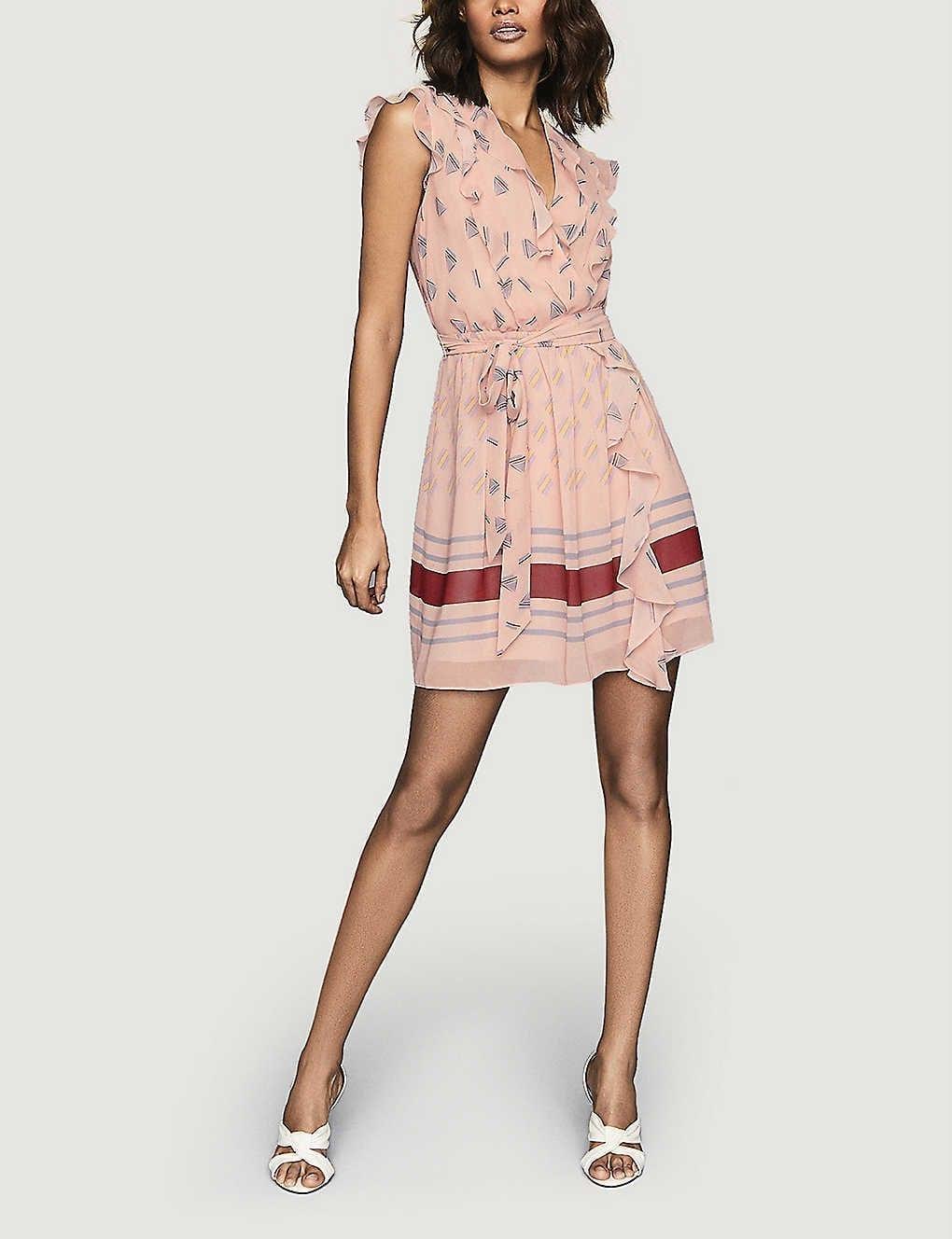 REISS Stephanie Printed Crepe Mini Dress