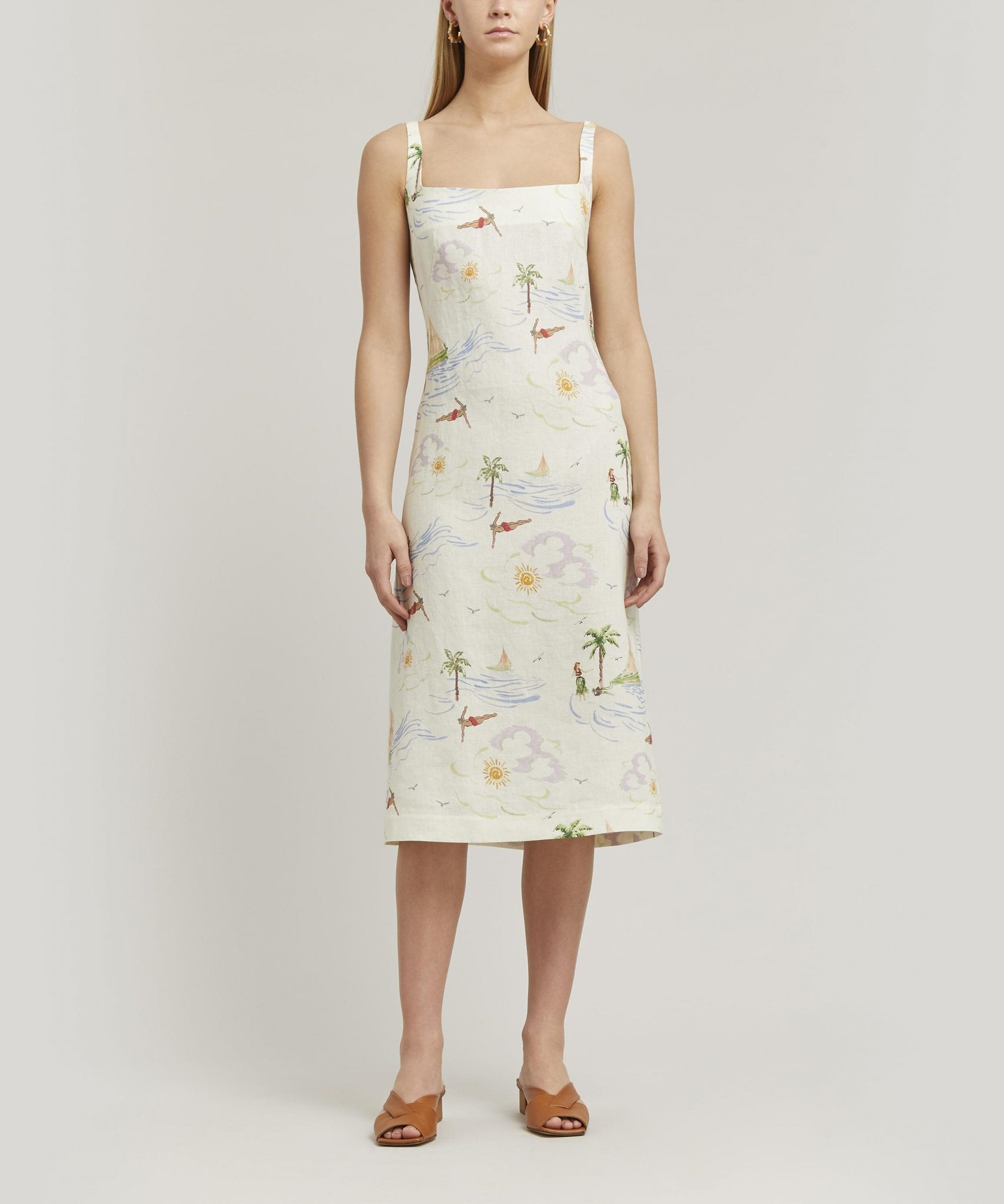 REJINA PYO Emilia Linen Midi-Dress
