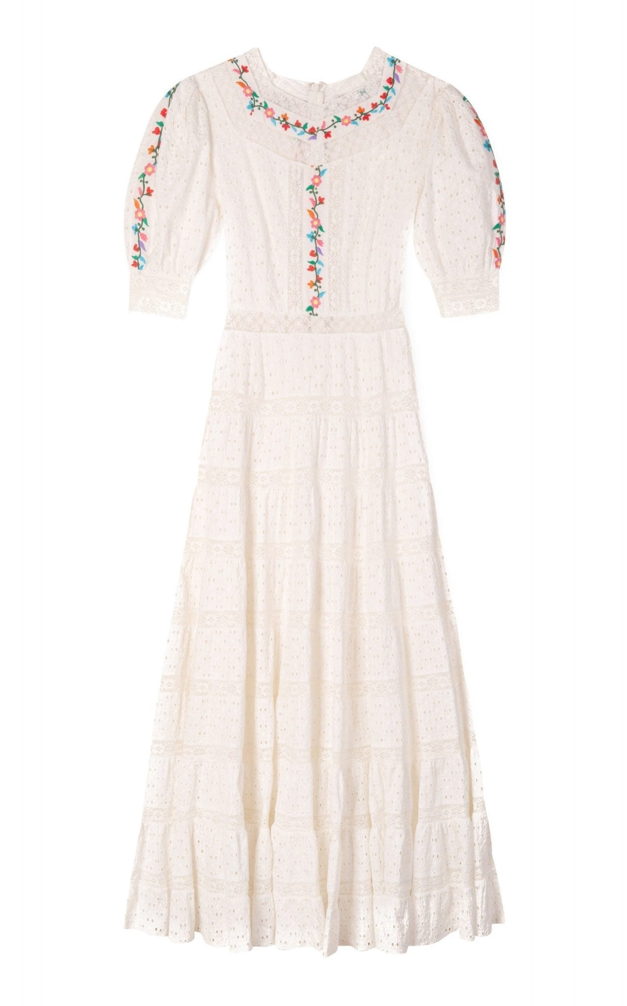 RIXO Skylar Embroidered Broderie Anglaise Cotton Midi Dress