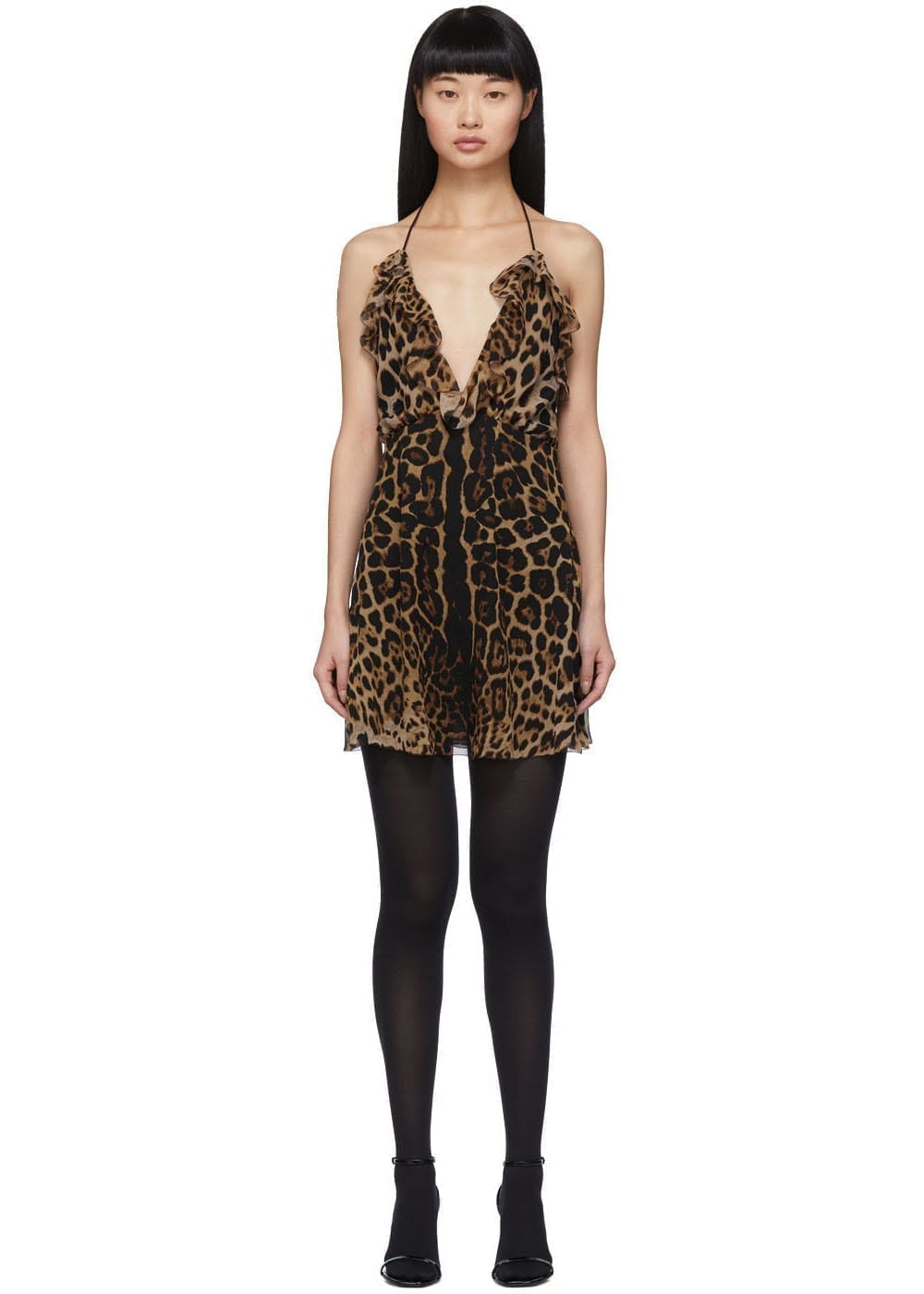SAINT LAURENT Beige Leopard Babydoll Slip Dress
