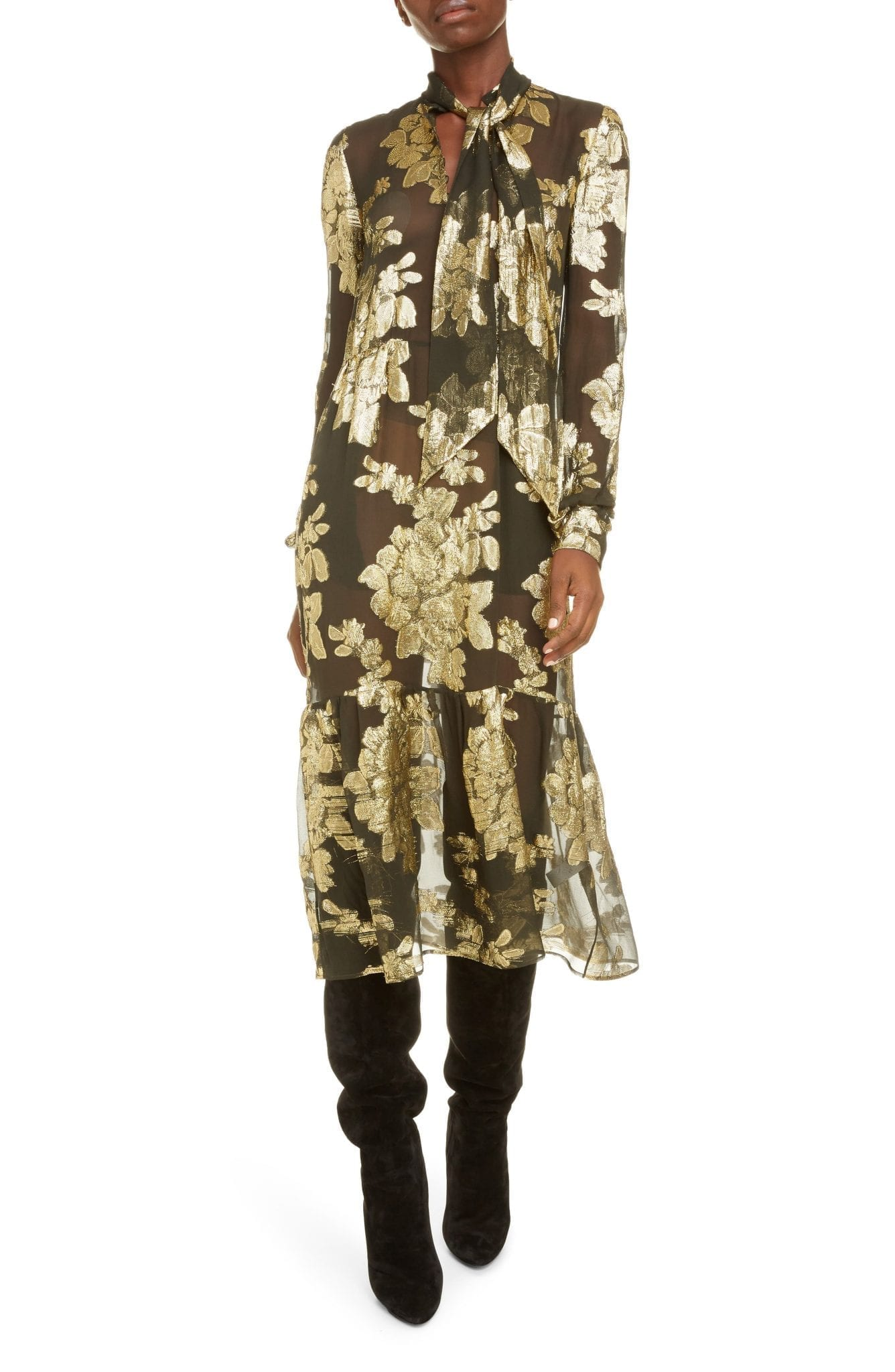 SAINT LAURENT Floral Fil Coupé Sheer Long Sleeve Midi Dress
