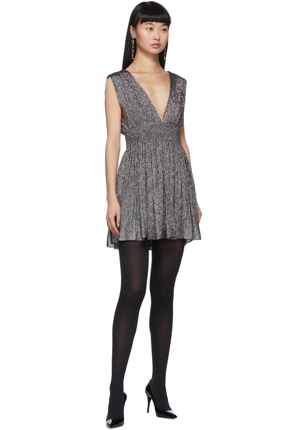 SAINT LAURENT Silver Lurex Short Dress