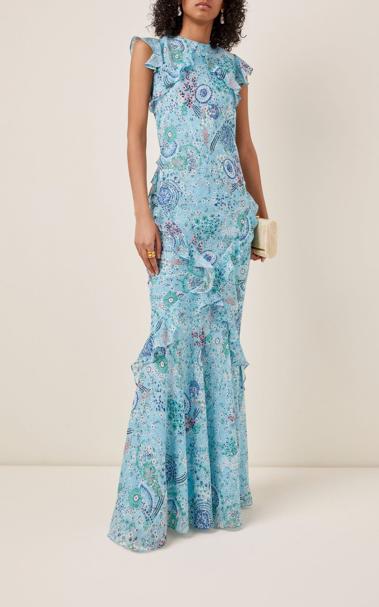 SALONI Tamara Ruffled Printed Silk-Chiffon Maxi Dress