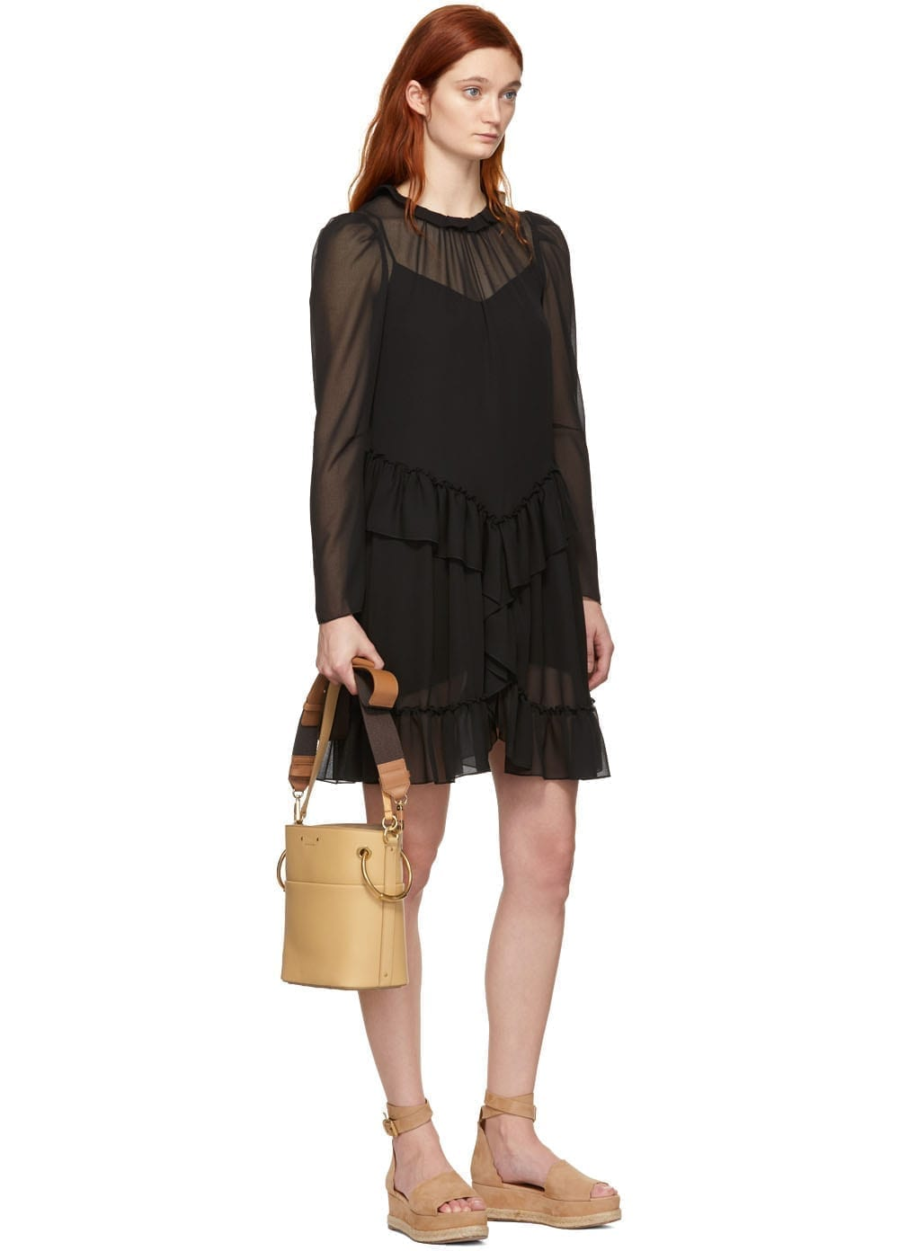 SEE BY CHLOÉ Black Georgette Ruffle Dress