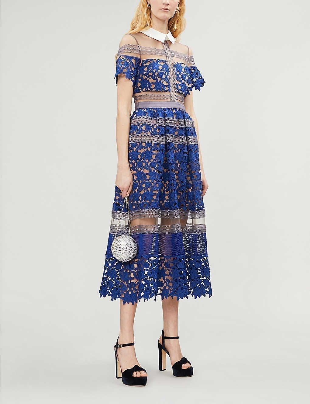 SELF-PORTRAIT Liliana Panelled Lace Midi Dress