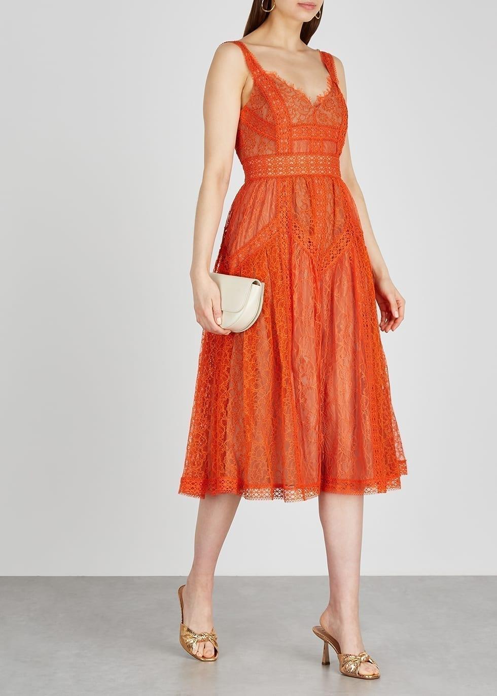 SELF-PORTRAIT Orange Guipure Lace Midi Dress