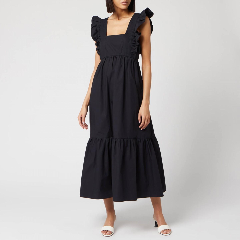 SELF-PORTRAIT Women's Black Cotton Poplin Midi Dress