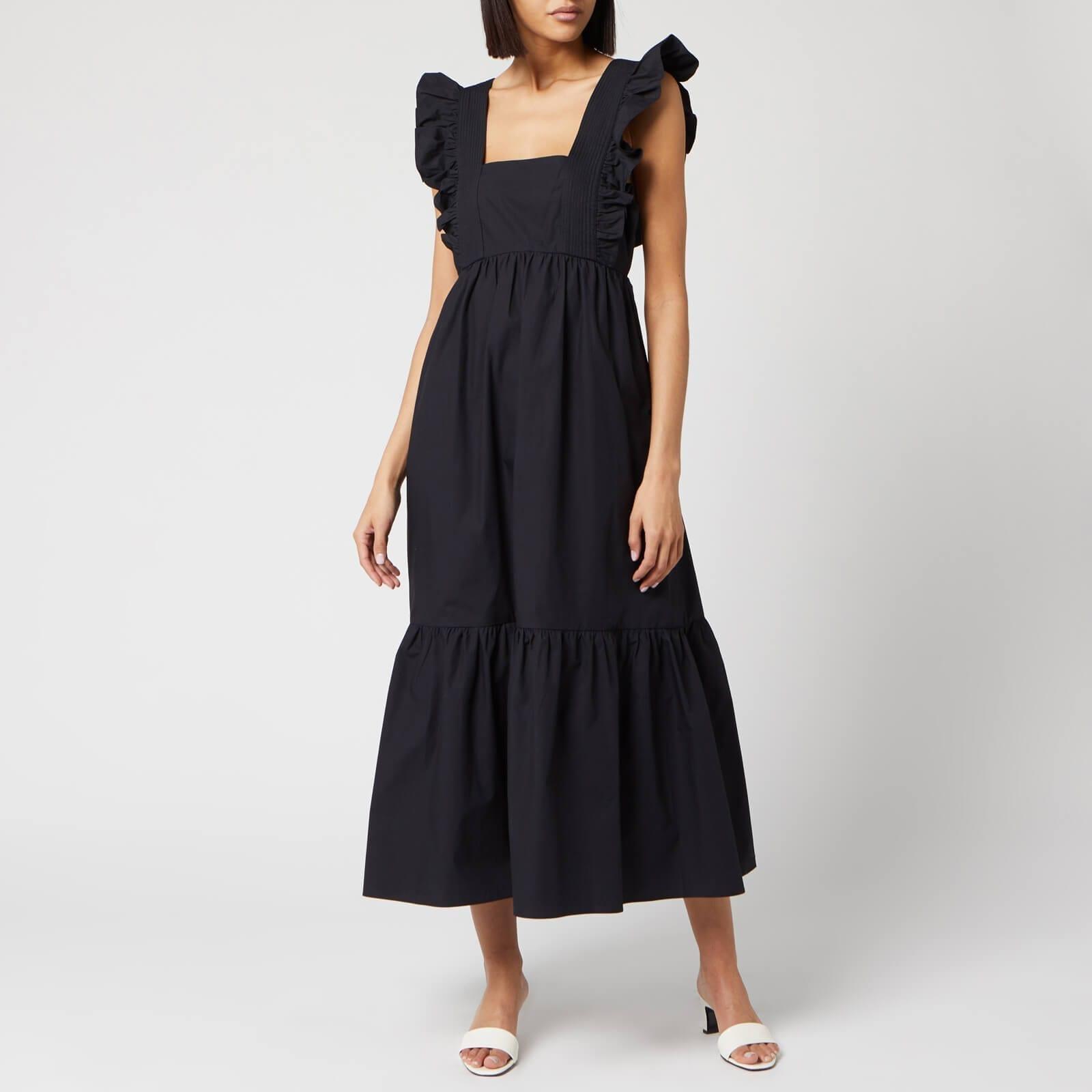 SELF PORTRAIT Women's Black Cotton Poplin Midi Dress   We Select ...