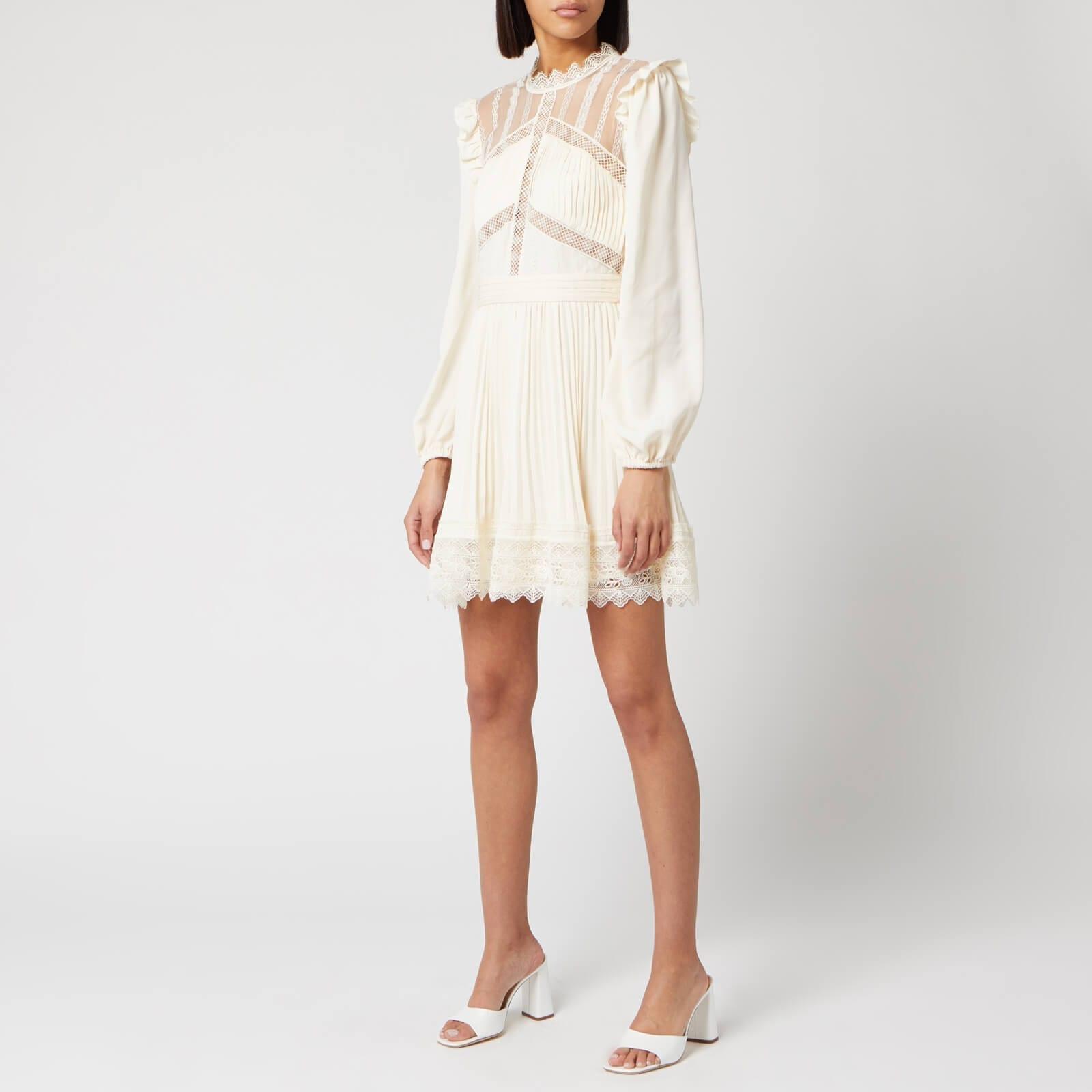 SELF-PORTRAIT Women's Cream Lace Trim Mini Dress