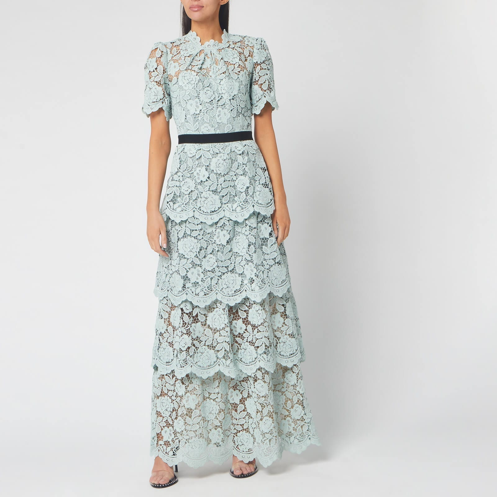 SELF-PORTRAIT Women's Flower Lace Tiered Maxi Dress