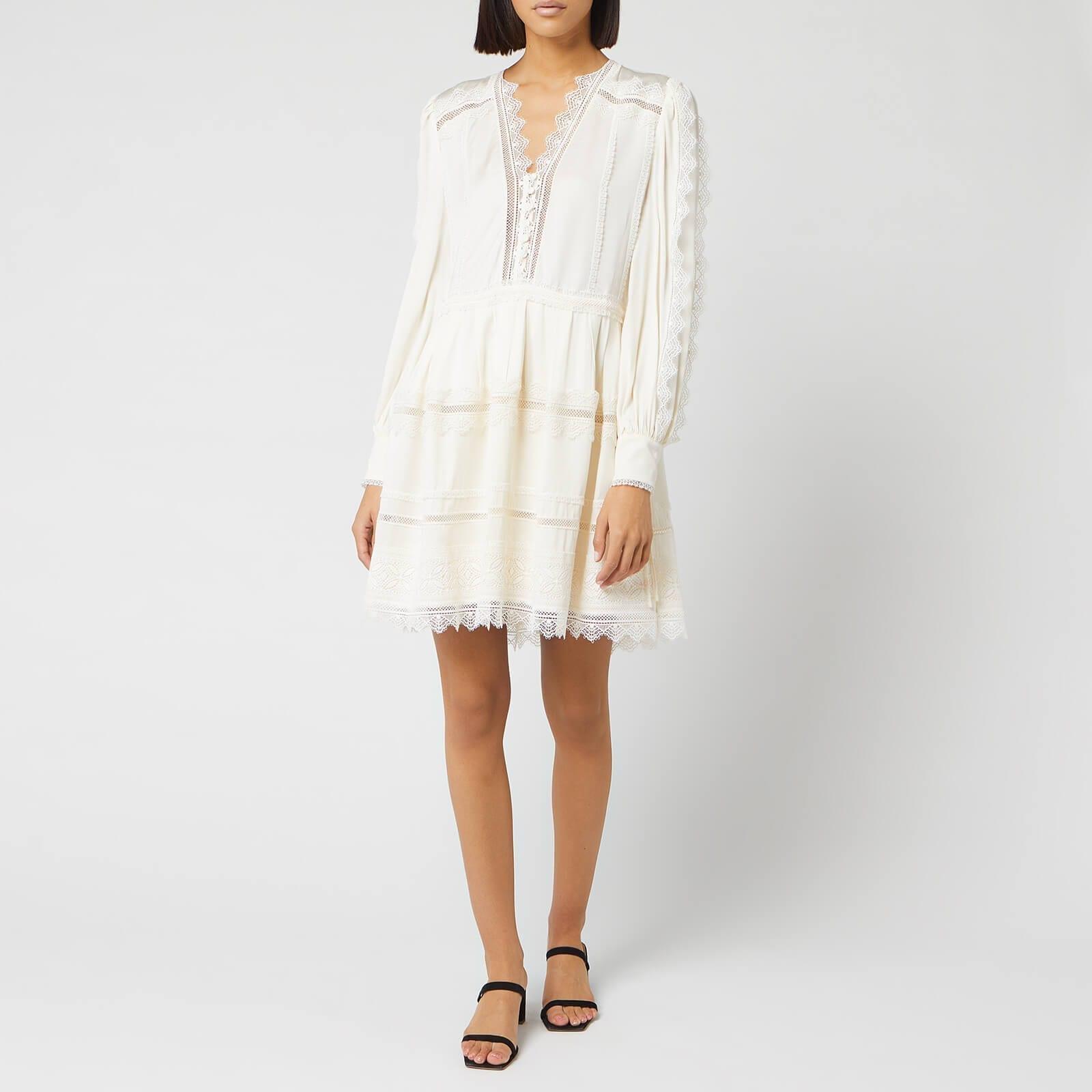 SELF-PORTRAIT Women's Lace Trim Mini Dress
