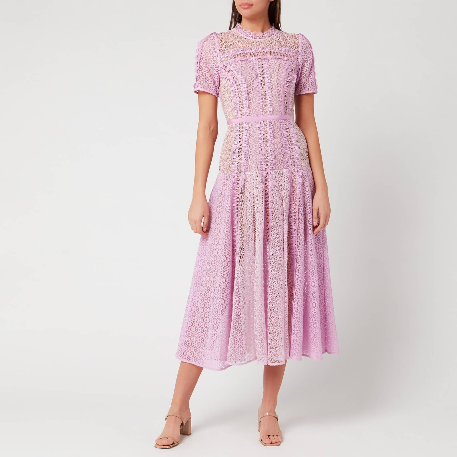 SELF-PORTRAIT Women's Lilac Lace Panel Midi Dress