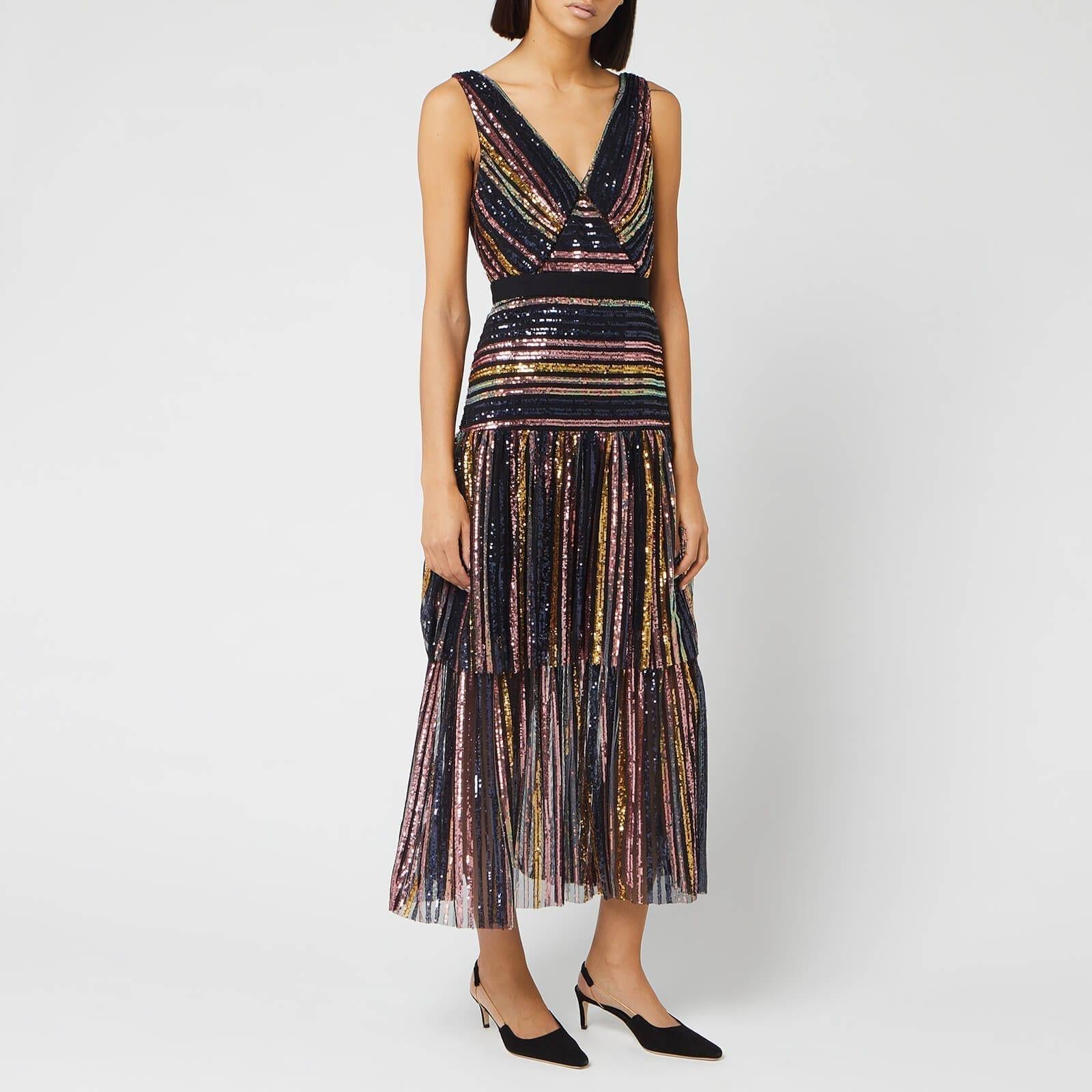 SELF-PORTRAIT Women's Stripe Sequin Midi Dress