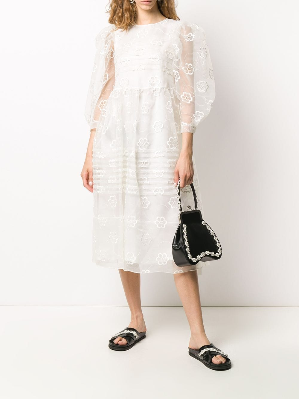 SIMONE ROCHA Floral Embroidered Puff Sleeves Dress
