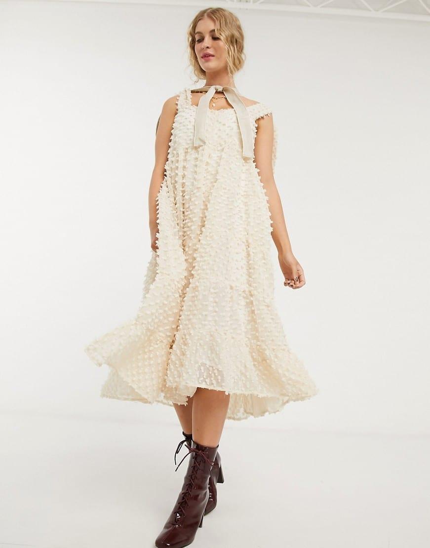 SISTER JANE Full Skirt And Tie Straps Midi Dress