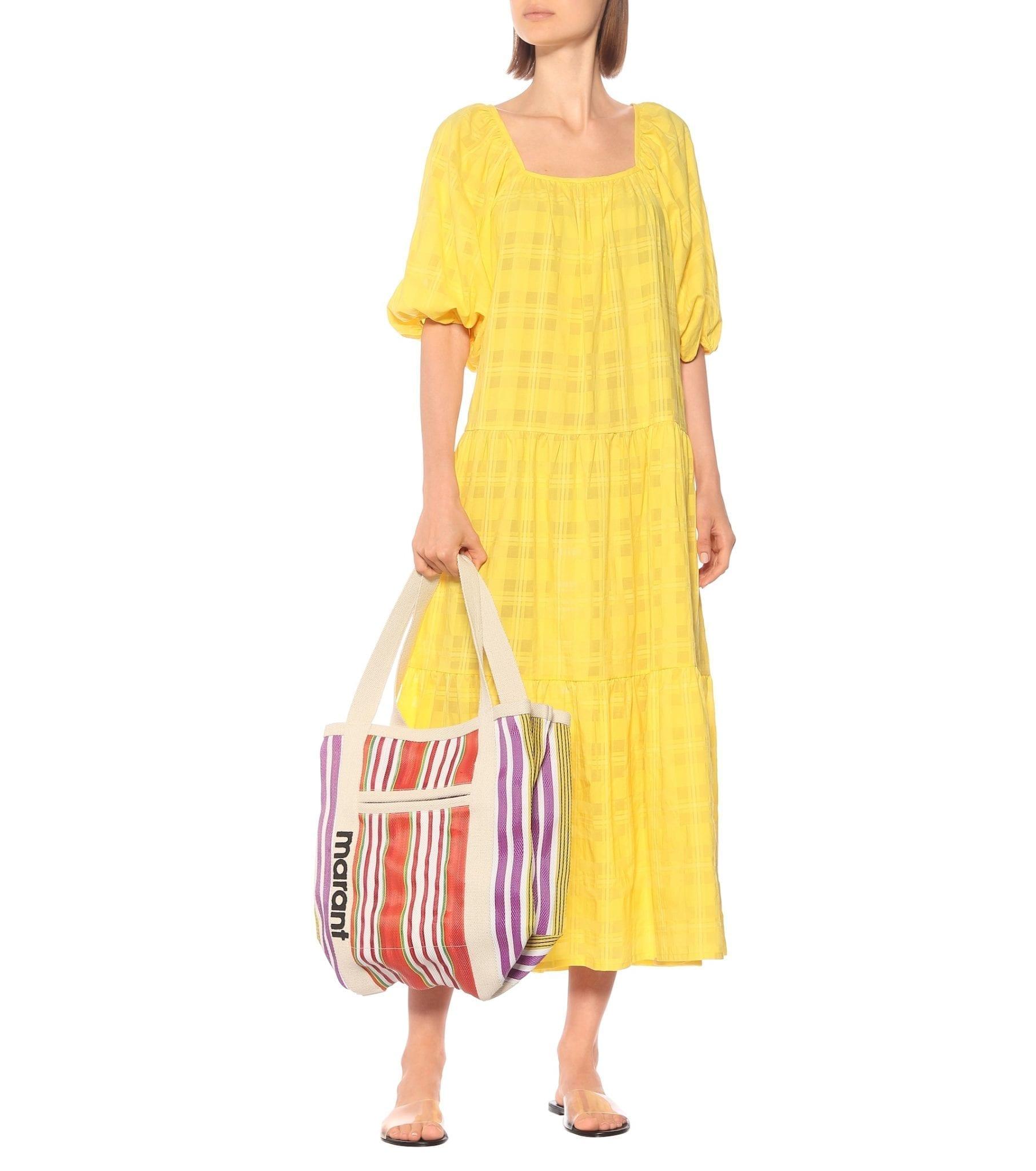 SOLID & STRIPED Checked Cotton-Blend Midi Dress
